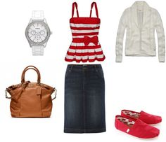 "Love this! The top is so cute!! ""Red & white casual"" by nessaelayne99 on Polyvore"