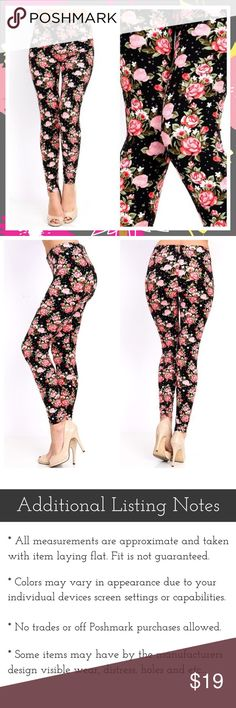 "Plus Ultra Soft Floral Leggings Ultra soft plus size floral print leggings. 92% Polyester and 8% Spandex. Fits sizes 14-20 comfortably. 37"" L x 27"" Inseam. October Love Pants Leggings"
