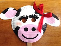 Chick-fil-A Cow Day  Paper Plate Cow Masks With Free Printables & Paper Plate Cow Craft | Cow craft Paper plate crafts and Animal crafts