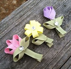 Set of 3.. Spring Garden Flower Ribbon Sculpture Hair Clip Set - Toddler Hair Bows - Baby Hair Accessories.. Free Shipping Promo