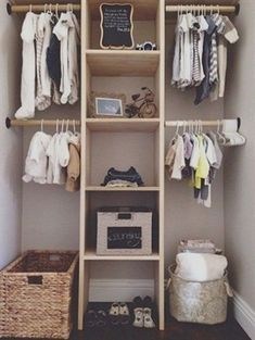Nursery Storage Organization Tips & Ideas, Small Closet Organization Hacks. Find easy ways to maximize the space of your nursery closet. Baby Bedroom, Baby Boy Rooms, Baby Room Decor, Baby Boy Nurseries, Nursery Room, Baby Nursery Closet, Room Baby, Kids Rooms, Baby Room Ideas For Boys
