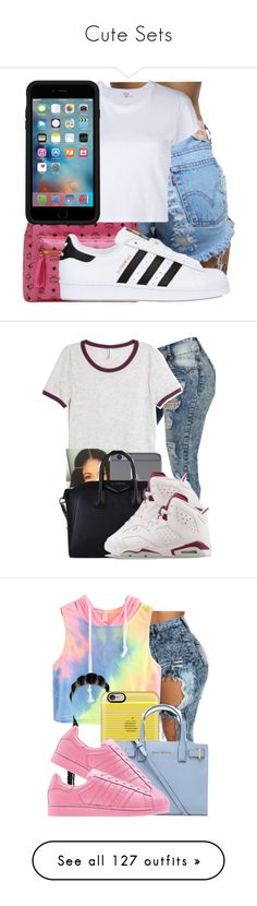 """""""Cute Sets"""" by kya-booda ❤ liked on Polyvore featuring MCM, adidas Originals, RE/DONE, OtterBox, H&M, Givenchy, NIKE, Casetify, Kurt Geiger and adidas"""
