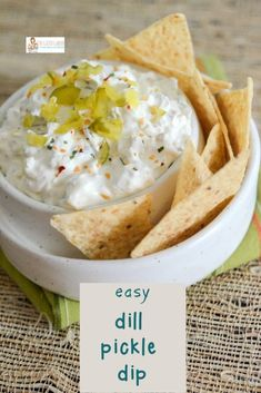 Dill Pickle Dip Recipe with Sour Cream - The Gifted Gabber Dip Recipes, Appetizer Recipes, Appetizers, Pickle Roll Ups, Dip For Potato Chips, Fried Dill Pickles, Dill Pickle Dip, Potatoe Skins Recipe, Best Chips
