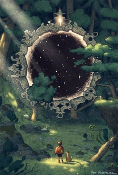 Magic black mirror.  Boy, dog. dimensional door. Forest. Puerta dimensional. Espejo negro magico. matt rockefeller / http://www.mattrockefeller.com/