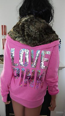 VICTORIA SECRET PINK 2013 FUR SEQUIN HOODIE JACKET LOVE PINK BLING XS S M L
