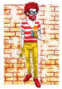Hipster Ronald McDonald  I think I know someone who looks like this!