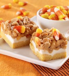Recipe For Scarecrow Treats - These Halloween desserts, topped with candy corn, are chewy and delicious.
