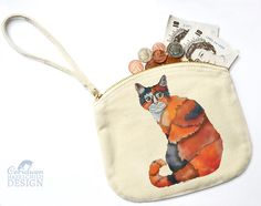 Cat Canvas Zip Purse Makeup Bag Coin Purse Small Accessory Pouch by ceridwenDESIGN http://ift.tt/1UifXNJ
