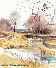 Sketching in Nature: Squaw Creek National Wildlife Refuge, Mound City, MO Watercolor Sketchbook, Watercolor Painting Techniques, Watercolor Projects, Watercolor Landscape Paintings, Sketchbook Drawings, Pen And Watercolor, Watercolor Illustration, Fashion Sketchbook, Doodle Drawings