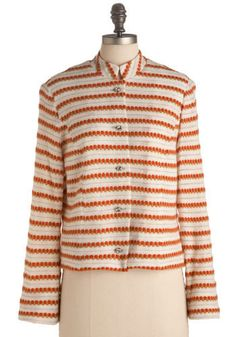 Vintage Read Between the Lines Cardigan. Glitzy faux rhinestone buttons embellish the center opening of this savvy striped sweater, adding a bit of glamor to the white, persimmon orange, and taupe brown color palette.  #modcloth