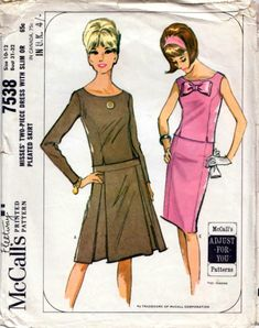 "Vintage 60s TWO PIECE DRESS Sewing Pattern Bust 31"" 32"" Size 6 & 8 PARTY Evening 