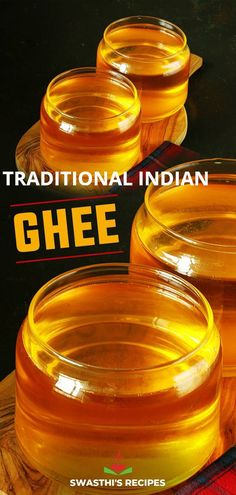 Ghee is a type of clarified butter that dates back to thousands of years. Well known as a pure cooking fat with high smoke point, it is nothing but a clear golden liquid that is traditional in Indian cuisine & is associated to Vedic cooking and Ayurvedic practices. Learn to make ghee at home with my simple step by step easy guide. Vegetarian Curry, Vegetarian Recipes, Healthy Recipes, Making Ghee, Paneer Dishes, Coconut Chutney, Paneer Recipes, Indian Kitchen, South Indian Food