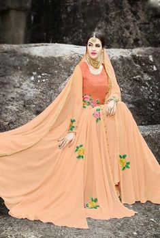 Featuring peach embroidered gown. TOP: Georgette FABRIC: Georgette DUPATTA: Georgette COLOR: Peach The product will be shipped within 1 to 2 weeks from the dat