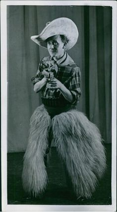 Vintage photo of Åke Söderblom in a costume of cowboy, 1938. -