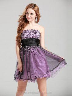 A-line Strapless Tulle Short/Mini Beading Homecoming Dress at edressestore.com.au