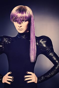 Bushy is multi-times finalist in the North American Hairstyling Awards in the Make-over and Avant Garde categories and has appeared on stage at the London Alternative Hair Show. Purple Hair
