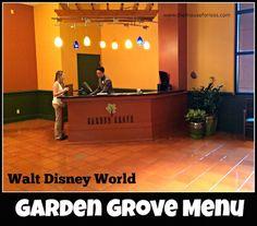Garden Grove Menu at Walt Disney World Swan Hotel #DisneyDining #SwanHotel