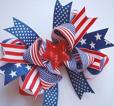 boutique PATRIOTIC double layered over the top hair bow clip