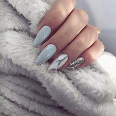 Almond Nails Blue and Grey Nails Marble Nails Silver Glitter Nails Acrylic Nails Gel Nails GlitterBomb almondnails Silver Glitter Nails, Grey Gel Nails, Silver Acrylic Nails, Blue And Silver Nails, Pastel Blue Nails, Grey Nail Art, Marble Nail Art, Pink Glitter, Baby Blue Nails With Glitter