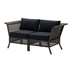 IKEA - KUNGSHOLMEN / KUNGSÖ, 2-seat sofa, outdoor, , By combining different seating sections you can create a sofa in a shape and size that perfectly suits your outdoor space.Durable, weather-resistant and maintenance-free since it's made of plastic rattan and rustproof aluminium.The seat cushion provides great comfort, thanks to its thick high resilience foam filling.The colour stays fresh for longer as the cover is fade resistant.The filling is protected against moisture, since the cover…