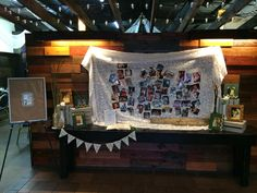 """Guestbook table. Photo collage on a lace table cloth, Wedding photos from parents and grandparents, """"highlight a bible verse"""" guestbook, """"if I could choose again"""" pallet art. #hannitadesigns #realweddings #mmhbwedding2014"""