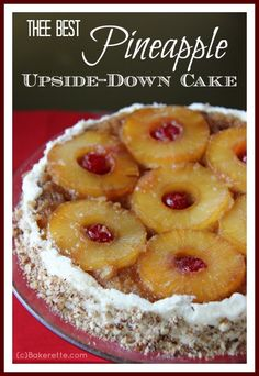 Eva Longoria's Pineapple Upside-Down Cake is an old-fashioned favorite. It's a moist yellow cake topped with pineapple rings, maraschino cherries, and a caramelized sauce. Rounded out with pineapple buttercream frosting and pecans.