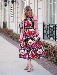 Floral midi dress, w