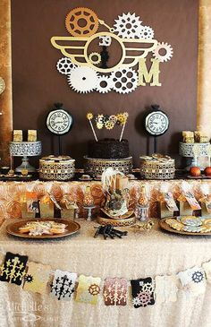 """""""Stopping Time... Forever Thirty Nine"""" Steampunk Birthday Party via Kara's Party Ideas KarasPartyIdeas.com Cake, decor, party supplies, tutorials, invitation, and more! #steampunk #steampunkparty #timeparty #clockparty #gears #clocks #adultbirthdayparty #stoppingtime (20)"""