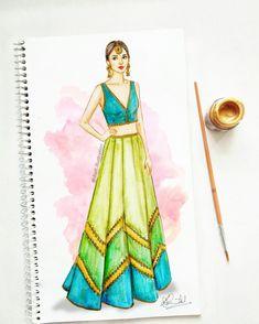 #art #fashionillustration #sketch #indianoutfit #indiantradition #weddingfashion #mehendioutfit Dress Design Drawing, Dress Design Sketches, Fashion Design Sketchbook, Fashion Design Drawings, Fashion Figure Drawing, Fashion Drawing Dresses, Drawing Fashion, Dress Illustration, Fashion Illustration Dresses