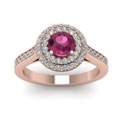 Gifts For Her with Pink Sapphire in 14K Rose Gold || Gemstone Halo Ring ||