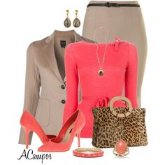 """""""Coral & Brown"""" by anna-campos on Polyvore"""