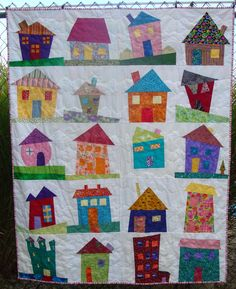 wonky fabric house patterns | ... to do some wonky, wavy line quilting and I think it worked out great