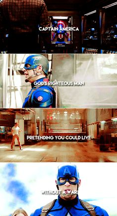 """""""Ahhh Captain America. Gods righteous man, pretending you could live without a war. I can't physically throw up in my mouth but-"""""""