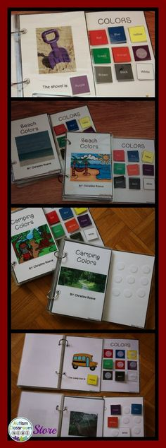 Four interactive books for color vocabulary. Great summer activities for kids with autism, special education and early childhood.  Part of a set of materials for practicing color ID.