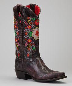 Love this Macie Bean Chocolate Floral Nice Boot - Women by Macie Bean on #zulily! #zulilyfinds