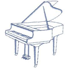 designs for grand piano | Baby Grand Piano Outline Embroidery Design by Dakota Collectibles ...