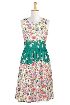 Floral print applique poplin dress -- this would look cute with a pretty ribbon tied at waist. Also from site with buy 2 get 1 and can customize dress.