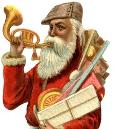 This is a wonderful Victorian Santa Image! This great looking Old World Santa is wearing a traditional looking Red Coat and an nontraditional looking brown cap!