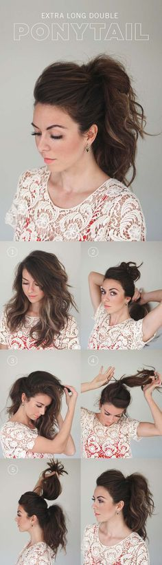 Best Hairstyles for Long Hair - Double Ponytail - Step by Step Tutorials for Easy Curls, Updo, Half Up, Braids and Lazy Girl Looks. Prom Ideas, Special Occasion Hair and Braiding Instructions for Teens, Teenagers and Adults, Women and Girls http://diyprojectsforteens.com/best-hairstyles-long-hair