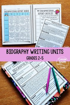 Biography Writing Unit (Grades - Thrifty in Third Grade Writing A Biography, 3rd Grade Writing, Third Grade Reading, Writing Topics, Writing Strategies, Teaching Reading, Teaching Grammar, Reading Lessons, Teaching Resources