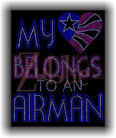 Items similar to Air Force Mom My Heart Belongs to Airman Rhinestone Shirt on Etsy Military Homecoming Signs, Airforce Wife, Rhinestone Shirts, Air Force Mom, Marine Mom, Navy Mom, Mom Shirts, Custom Clothes, Rhinestones