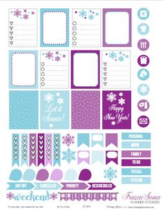Free Frozen Snow Planner Stickers | Vintage Glam Studio