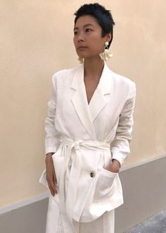 White Relaxed Belted Blazer – The Frankie Shop