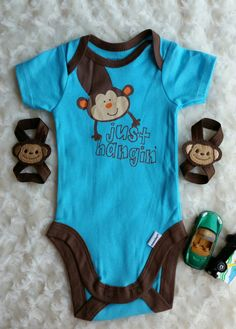 This is a cute Monkey Onsie for a little Boy.  Size says Newborn but says it is for sizes 5-8lbs. So, this is running small. Newborn Monkey Barefoot Sandals for a boy.