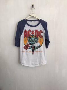 4e377e25003 ACDC shirt 1983 vintage t shirt band t-shirts raglan tee rock tshirt 80s  band shirts 80s clothing 666 Devil shirt satan baseball tees medium