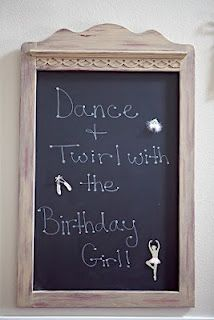 pink ballet ballerina birthday party frame chalkboard