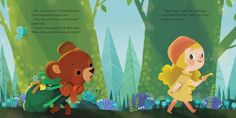 """joeyart:  """" B Bear and Lolly Off to School (2014)  Here are some sample pages of the new book written by A.A. Livingston and illustrated by me. """"B Bear and Lolly Off to School"""". its now..."""