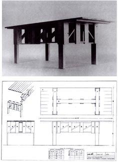 Tavolo 3  Design: Enzo Mari Woodworking Furniture, Furniture Plans, Cool Furniture, Furniture Design, Dining Tables, Coffee Tables, Enzo Mari, Carpentry Projects, Brutalist