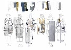 from Lowri Edwards' fashion portfolio - love the inclusion of the fabrics/textures along the top Fashion Illustration Portfolio, Fashion Design Sketchbook, Illustration Mode, Fashion Design Drawings, Fashion Sketches, Fashion Illustrations, Drawing Fashion, Sketchbook Layout, Textiles Sketchbook