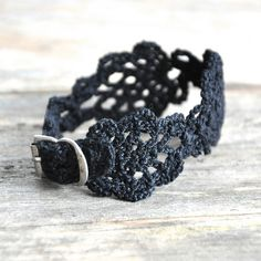 Small Crochet Cuff with Vintage Buckle in Black / Izabela Motyl